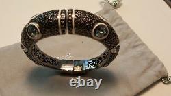 M. C. L Matthew Campbell Laurenza Blue Topaz White Enamel Black Sapphires Bracelet