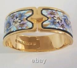 M. Frey Wille Enamel Bracelet Bangle Gold Plated blue floral