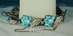 MARGOT de TAXCO Bracelet STERLING Blue & Speckled White ENAMEL Flower & Leaf FAB