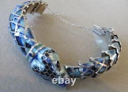 Margo de Taxco Design Blue Enameled Snake, Serpant Bracelet