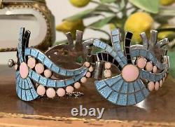 Margot De Taxco Vintage Enamel Pink Blue Black Fan and Wave Sterling Bracelet
