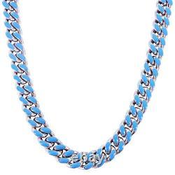 Mens Steel Miami Cuban Choker Blue Enamel Designer Necklace Bracelet Combo Set
