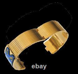 Michaela Frey Enamel & Plated Gold 18k Egypt Nefertiti Royal Claps Bangle