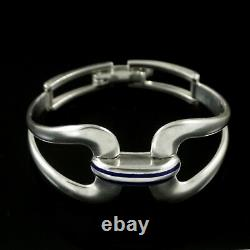 Modern Sterling Silver Bangle with blue enamel. 1960s