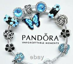 New Authentic Pandora Silver Bracelet Blue Love Butterfly Heart European Charms
