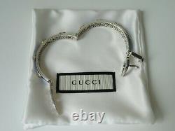New Gucci Sterling Silver Blue Enamel Feline Head Buckle Bracelet, Gucci Garden