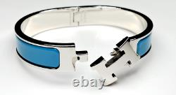New Hermès Clic H Palladie Bleu Du Nord Silver PM NWT