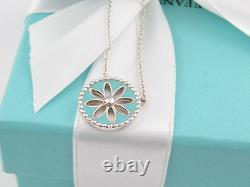New Mint Tiffany & Co Silver Blue Enamel Daisy Necklace Packaging Box Pouch
