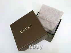 New Original Gucci Sterling Blue Enamel & Feline Head Bracelet YBA461908001017