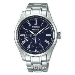 New Seiko Presage Blue Enamel Stainless Steel Bracelet Men's Watch SPB091