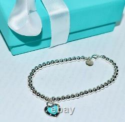 New Tiffany & Co Return To Tiffany Blue Enamel Love Heart Tag Bead Bracelet $465
