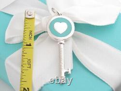 New Tiffany & Co Silver Heart Blue Enamel Key Pendant Charm 4 Necklace Bracelet