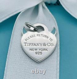 New Tiffany & Co Silver Return To Devil Blue Enamel Charm For Bracelet Necklace