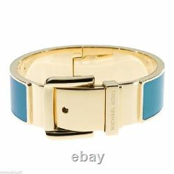 New-michael Kors Gold Tone Wide Blue Enamel Hinge Belt Buckle Bangle Bracelet