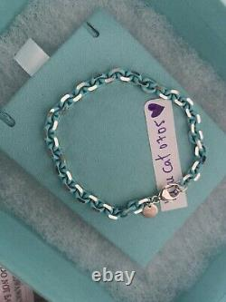 New tiffany and co blue enamel sparkler bracelet in size Medium