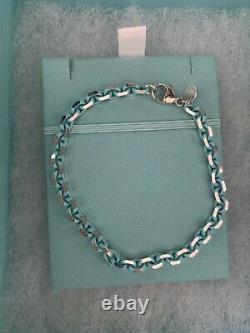 New tiffany and co blue enamel sparkler bracelet in size large