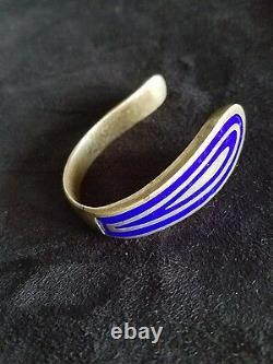 Old vintage sterling silver and cobalt blue enamel cuff bracelet heavy