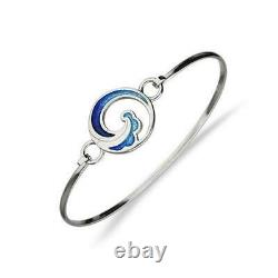 Ortak Scotland Costal Blue Enamel Waves Sterling Silver Bangle Bracelet