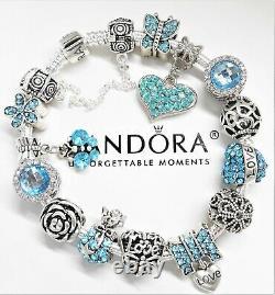 Pandora Silver Bracelet With Crystal Heart & Blue Love European Charms