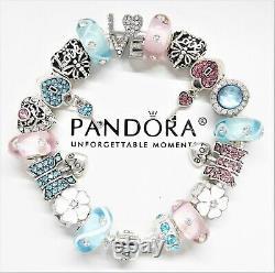 Pandora Silver Bracelet With Pink & Blue Love Heart European Charms