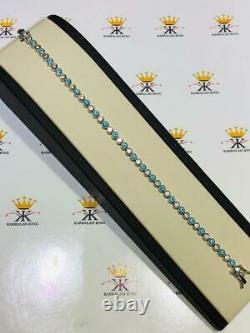 Platinum Sterling Silver White Sapphire Blue Enamel Evil Eye Tennis Bracelet 7.5