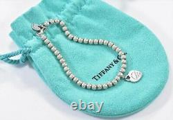 Please Return To Tiffany & Co Silver Blue Enamel Heart Charm 7 Bead Bracelet