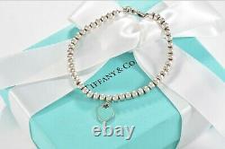 Please Return To Tiffany & Co Silver Blue Enamel Heart Charm Bead Bracelet 7