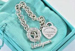 Please Return To Tiffany & Co Silver Blue Enamel Heart Toggle Chain Bracelet