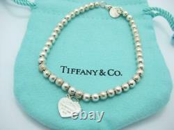 Please Return To Tiffany & Co. Silver Blue Enamel Mini Heart Bead Bracelet 7 -A