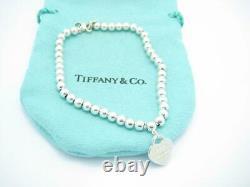Please Return To Tiffany & Co Sterling Blue Enamel Mini Heart Bracelet 7 A