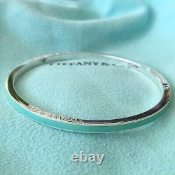 RARE NEW Tiffany & Co. Silver Blue Enamel Stripe Bangle Bracelet POUCH BOX