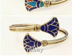 Rare Egyptian Stamped 100% Sterling Silver Blue Enamel LOTUS FLOWER Bracelet! WOW