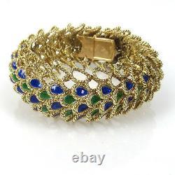 Rare Vintage Blue & Green Enamel 14K Yellow Gold Wide Rope Bracelet