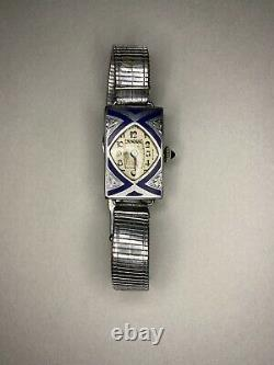 Rare Womens Art Deco Blue Enamel CYMA Watch Silver Tone Case