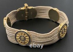 Retro Turkish Niello Sterling Silver 925 Blue Enamel 7 Strand Weave Bracelet 7