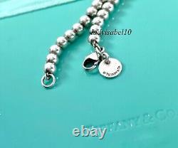Return To Tiffany & Co 7 Silver Blue Enamel Heart Mini Bead Bracelet w Pouch 21
