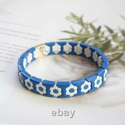 Roxanne Assoulin Bracelet Cornflower Bracelet Blue & White Flower Enamel Stretch