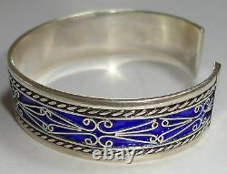 SILVER & Blue Colored Enamel Moroccan Berber Ethnic Tribal Hand Made BRACELET 2
