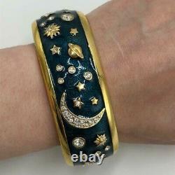 SWAROVSKI Celestial Stars Moon Planet Blue Gold Enamel Bracelet Earrings SET