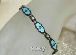 Signed ART DECO Blue Guilloche Enamel & Paste STERLING Silver Bracelet 7 1/4