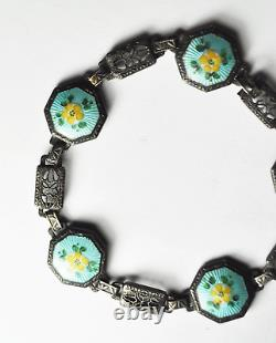 Sterling 16mm Blue Enamel Yellow Flower Guilloche Filigree Bracelet 7-1/4