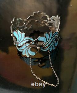 Sterling Silver Blue Enameled Wide Link Bracelet Signed Margot de Taxco Mexico