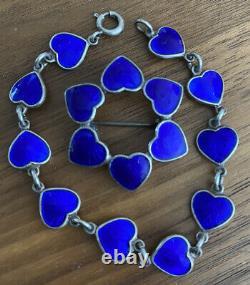 Sterling Volmer Bahner VB DENMARK Heart Blue Enamel Bracelet & Pin Guilloche