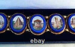 Stunning 18ct gold Victorian blue enamel micro mosaic bracelet