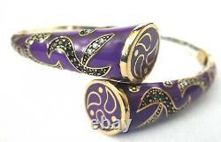 Stunning Sterling Silver Purple Enamel Geunine Blue & Ice Stone Clamper Bracelet