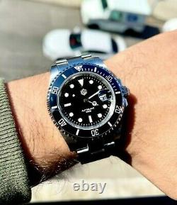 Submariner Style 200m Diver Watch 41mm Black Blue automatic mens watch