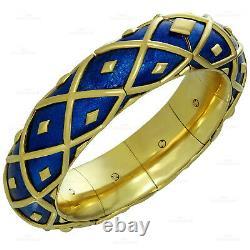TIFFANY & CO. SCHLUMBERGER Dot Losange Blue Enamel Bangle Bracelet & Earrings