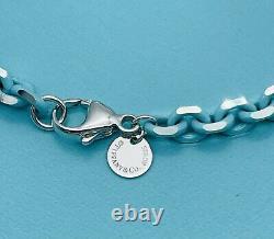 TIFFANY & CO. Silver Bracelet with Blue Enamel Finish Sparkler New 7.25