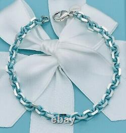TIFFANY & CO. Silver Bracelet with Blue Enamel Finish Sparkler New 7.75