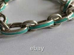 TIFFANY & CO. Sterling Silver Blue Enamel Oval Link Charm Bracelet